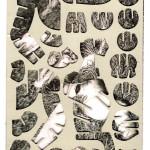 Decoder-BlackDahlia,  collage on digital print, 18x13cm, 2014