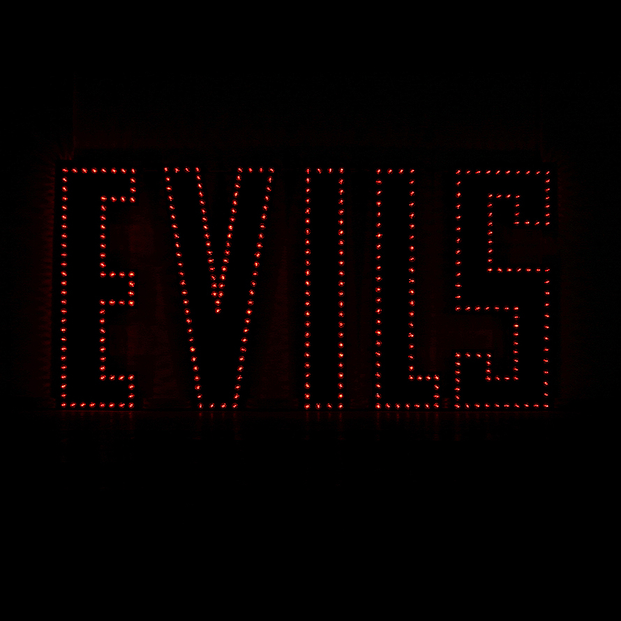 EVILS, 2004, metal,paint, light bulbs, sequencer, soundtrack loop,500x250cm