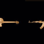 Fetishes, 2004, Guitar, AK47 replica, Gold Leaf.