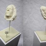 Newton face cast, expanding foam,  alien vegetal form.