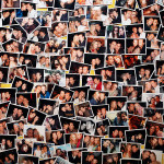 My Friends Are Better looking Than Yours (detail), 2004, matress, paint, 600 photographs, pins
