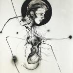 Newton Study 4, 2013, ink/paper, 200x150 cm.