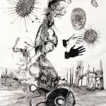 Newton Study 6, 2013, ink/paper, 200x150 cm.