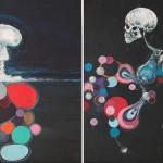 The Day-K, 2014, acrylic/canvas, diptych.