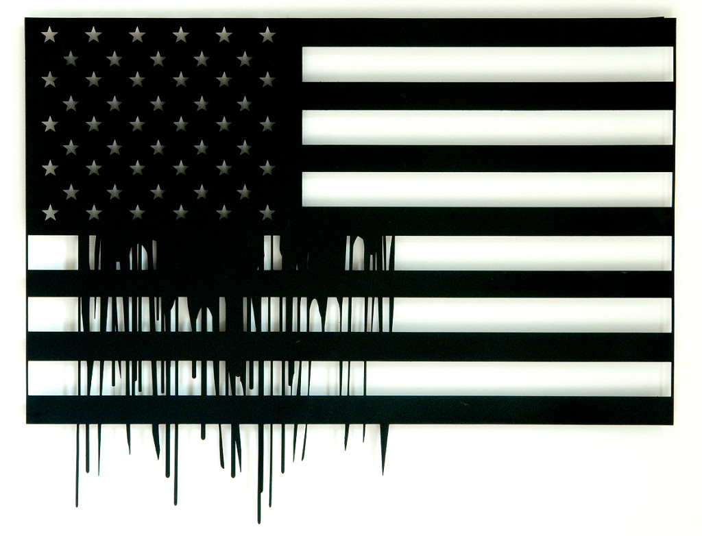 The Flag, 2006, lasercut metal & paint, 100x100 cm- Ed. of 8