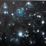 Random Galaxy #2, 2013, acrylic and resin /canvas, 270x190 cm.